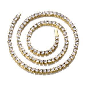 Image 5 - HIP HOP 3/4/5/6MM Bling glacé cuivre Zircon Tennis chaîne breloque longue chaîne à maillons collier pour hommes bijoux