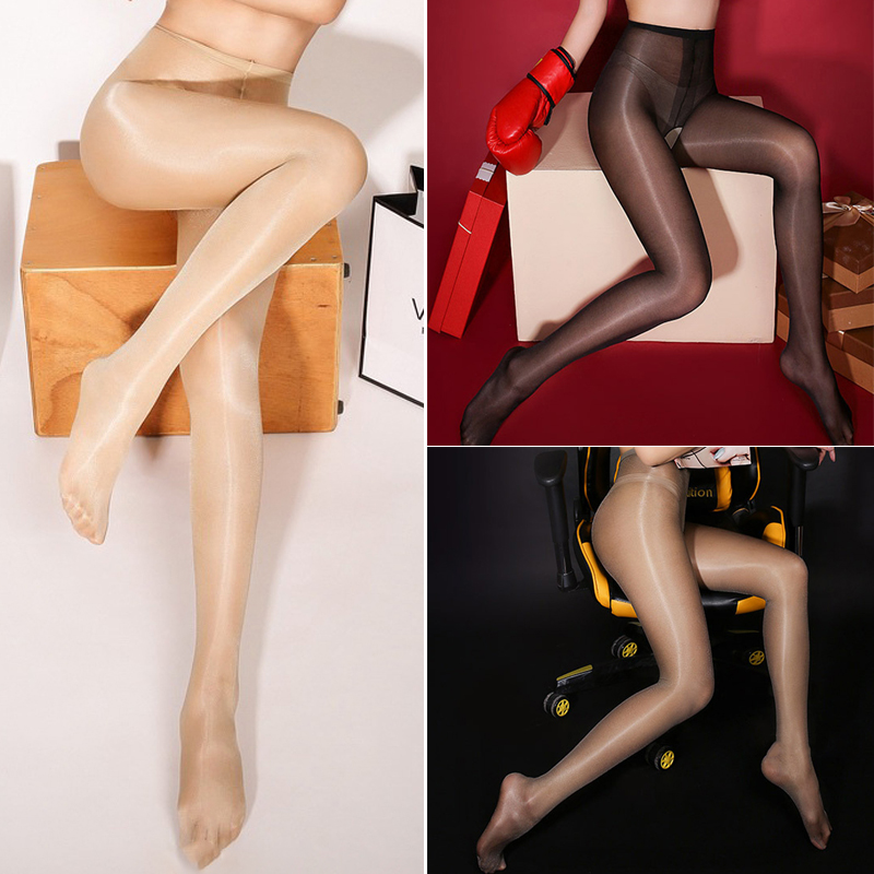Sexy Women Stockings Open Crotch Oil Shiny Gloss Crotchless Pantyhose Anti Hook Slim Tights Thin High Waist Elastic Stocking