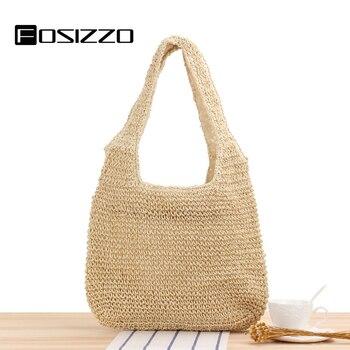 цена на FOSIZZO Rattan Bag Women Fashion Design Summer Bag Casual Tote Shoulder Bag for Travel Beach Bag Raffia Bags FS5120