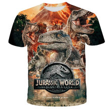 XINYOU-camisetas Harajuku de dinosaurios para niños, Vestido corto de Parque Jurásico sin conexión, ropa de verano, vestidos de diseñador, camisetas