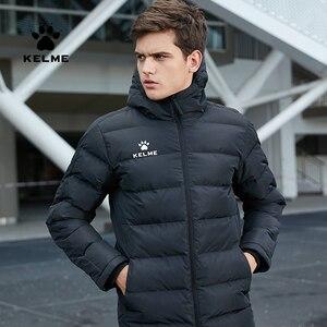 Image 1 - KELME Männer der Baumwolle Jacke Paar Mit Kapuze Warme Mantel Ausbildung Sport Team Uniform Baumwolle Gefütterte Mantel 3881405
