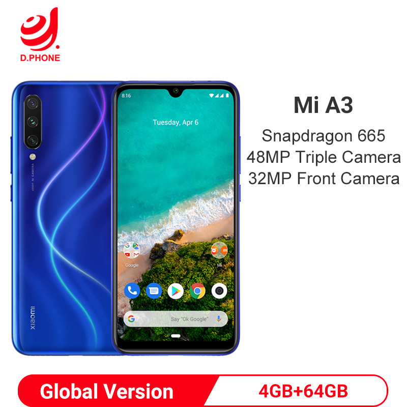Global Version Xiaomi MI A3 4GB 64GB Snapdragon 665 Octa Core 48MP Triple Cameras 32MP Front Camera 4030mAh Smartphone-in Cellphones from Cellphones & Telecommunications