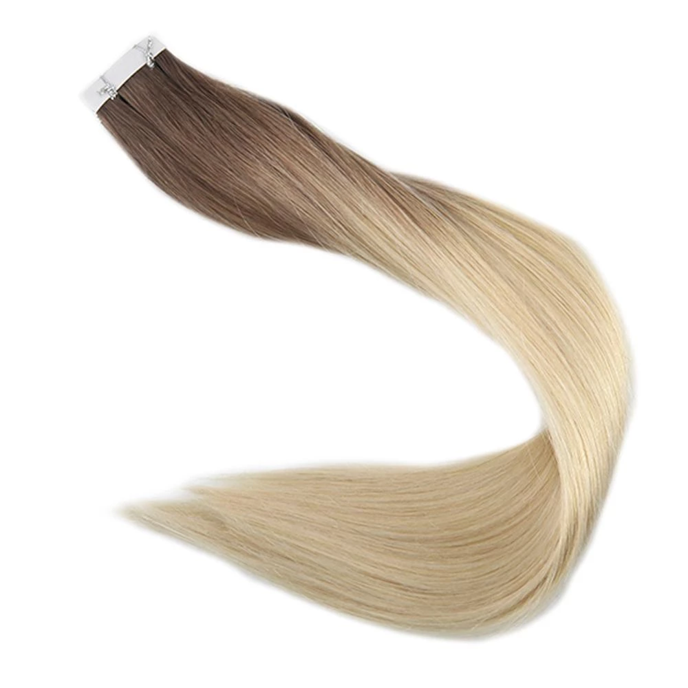 Full Shine Ombre Color 100g 40pcs 100% Real Human Hair Balayage Tape In Hair Extensions Blonde Tape On Hair Machine Made Remy