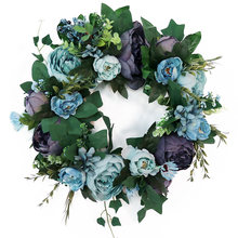Home Decor Artificial Wreath Wall Hanging Window Party Simulation Flowers Wedding Christmas Ornament Lifelike Garland Door(China)