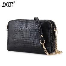 MJ Women Chain Messenger Bag PU Leather Serpentine Pattern Woman Shoulder Bag 2018 New Female Small Bag for Girls