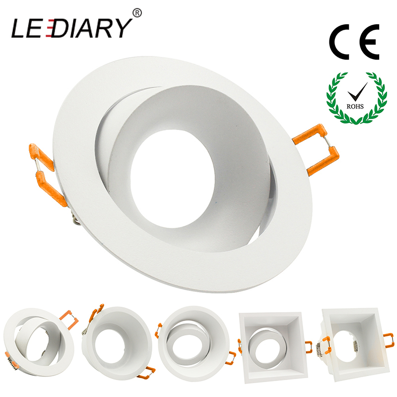 LEDIARY LED Spot Downlight GU10 Fitting Matte White 90-260V Ceiling Recessed Lamp 75mm 90mm Cut Hole Bulb Replaceable Downlights