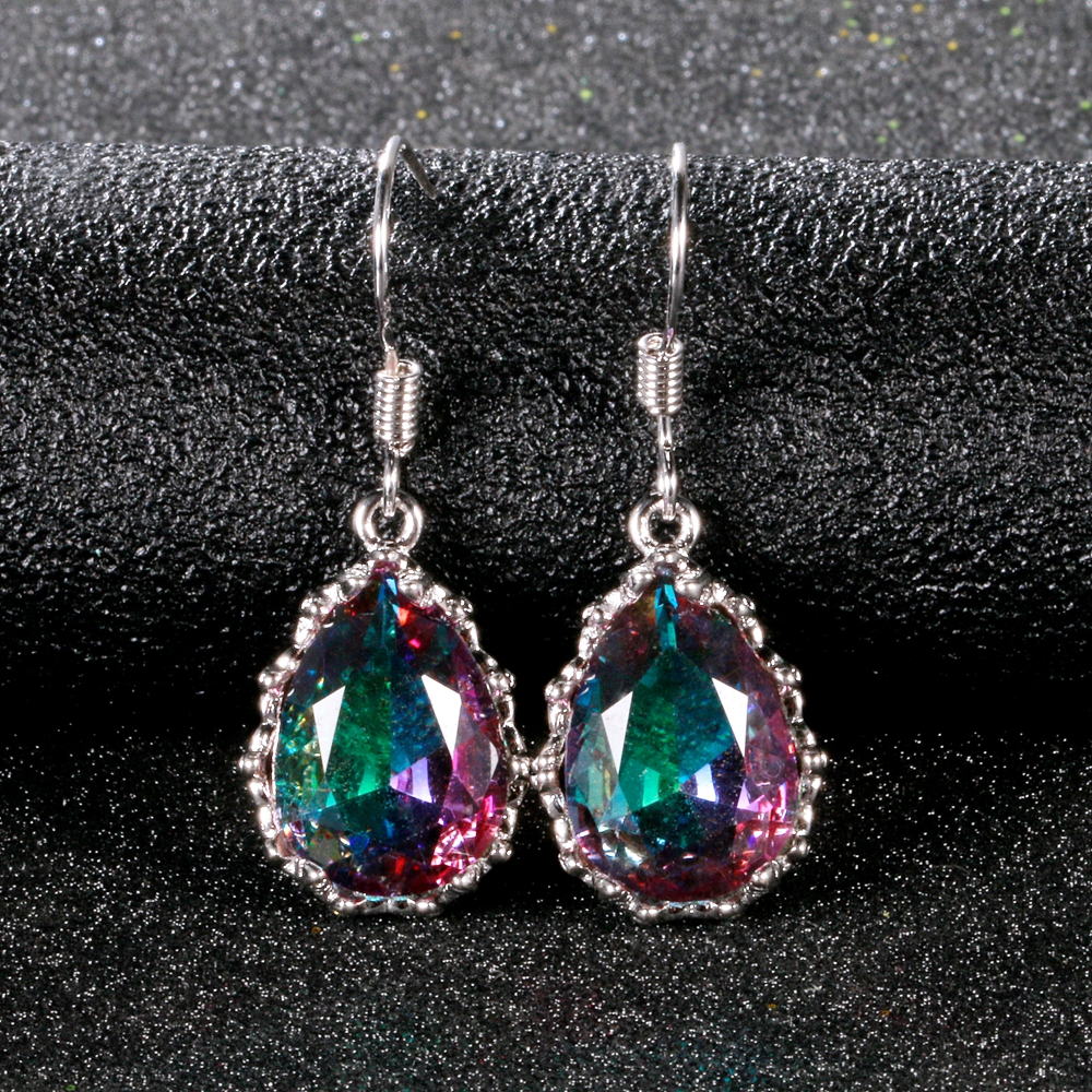 Huitan Silver Color Vintage Pear Shape Drop Earring for Women Flower Setting Gorgeous Dance Party Lady Earring Accessories Gift