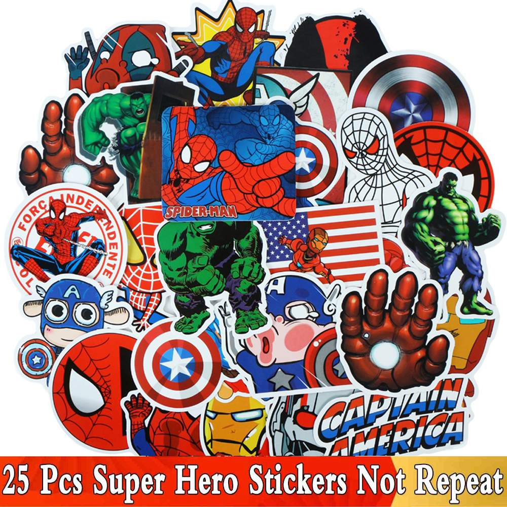 25 Pcs / Set Cool Super Hero Stickers For Marvel The Avengers For Laptop Motorcycle Guitar Luggage JDM Waterproof Sticker