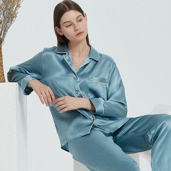 16 Momme Pure Silk Pajamas 100% Mulberry Luxury Long Sleeve Trouser Female Real Homewear Summer Sleepwear Women Pijama - discount item  52% OFF Women's Sleep & Lounge
