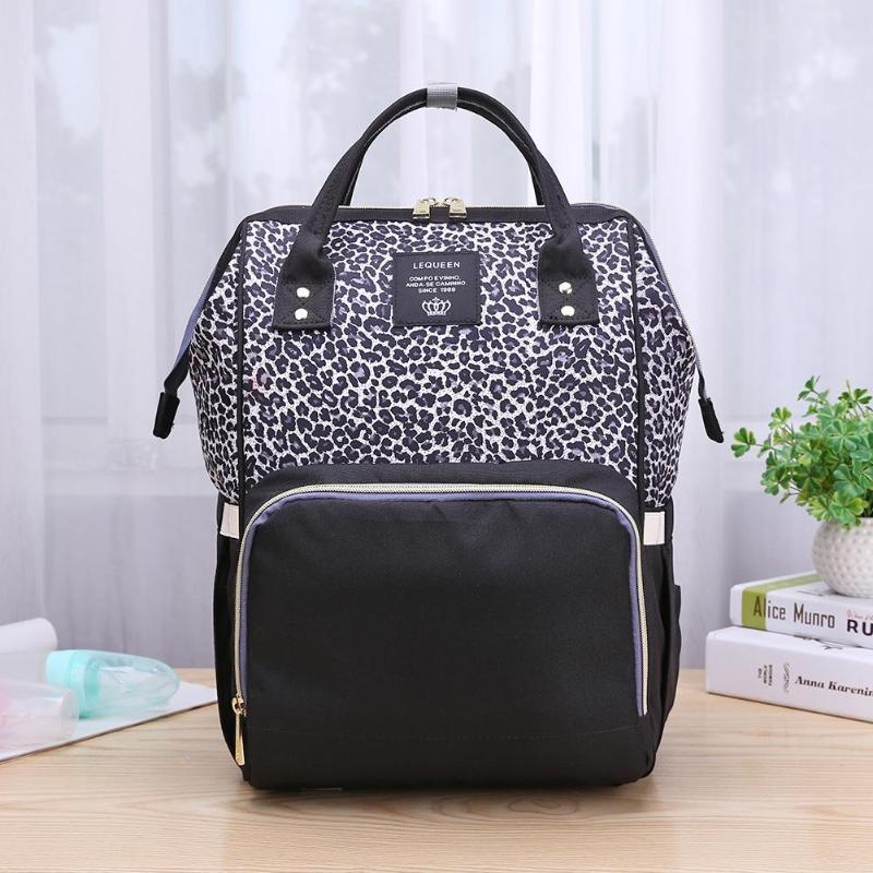 Fashion Leopard Print Mummy Bag Waterproof Diaper Backpack Large Capacity Maternity Nursing Baby Nappy Handbag
