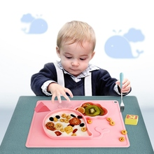 Baby Silicone Plate Feeding Bowls Toddler Food Dishes Children Trainning Plates Tableware Dinner Dishes Kids Utensils Gift