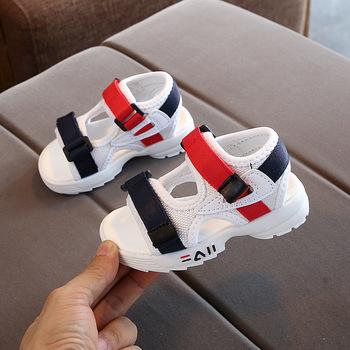 2021 dziecięce letnie chłopięce skórzane sandały dziecięce płaskie dziecięce buty na plażę dziecięce sportowe miękkie antypoślizgowe sandały na co dzień malucha B841 tanie i dobre opinie AINYFU RUBBER 13-24m 25-36m 7-12y CN (pochodzenie) Lato Damsko-męskie Miękka skóra Płaskie obcasy Hook loop Cotton Fabric