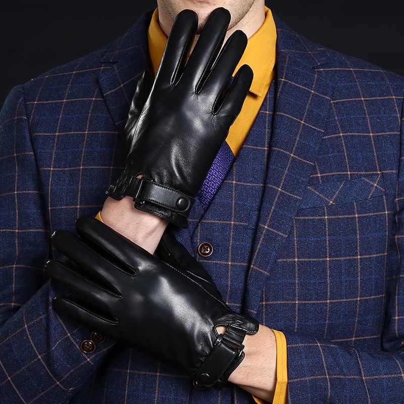 高品質の高級男性手袋本革男ショート手袋フリース裏地オートバイ Guantes Hombre Invierno