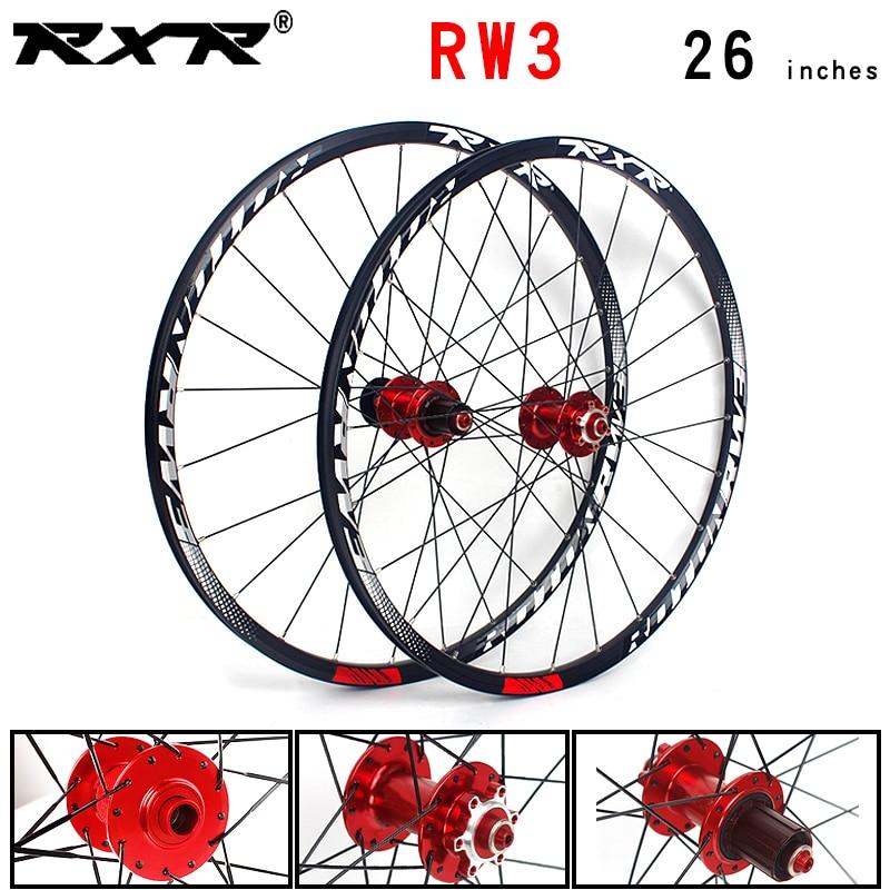 Rxr mountain bike rodas 26 mtb humtb cubos de bicicleta 24 furos rw3 freio a disco qr 7/11 velocidade dianteira 2 traseiro 5 rolamentos liga rodado