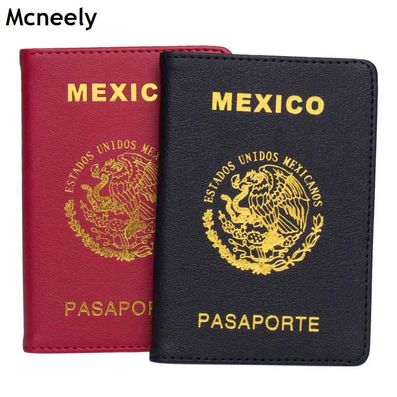 Mcneely Multifunctional Leather Mexico Passport Cover With Credit Card Holder And Air Ticket Holder Case Mexico Red Black