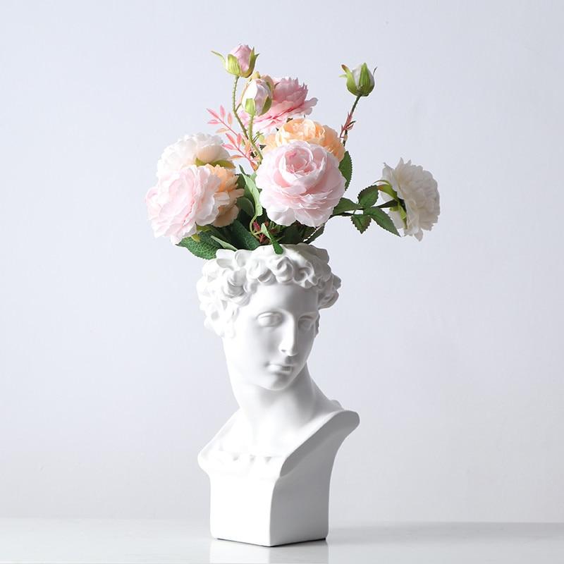 Michelangelo Buonarroti David Head Portraits Resin Imitation Gypsum Vase Living Room Plants Flower Pot Ornaments Craftwork M3945