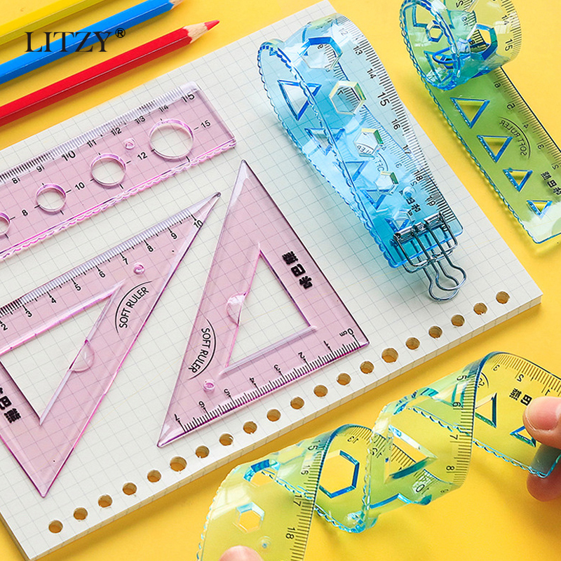 LITZY 4pcs Soft Geometry Ruler Set Protractor Mathematical Compasses For School Stationery 15/20cm Plastic Straight Rulers
