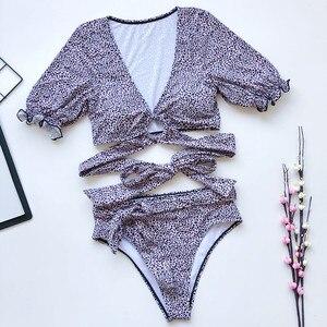 Image 5 - Bikini Sexy de realce, bañador con estampado de leopardo, ropa de baño de manga corta para mujer, novedad del 2020 en traje de baño calado para mujer, bikini brasileño