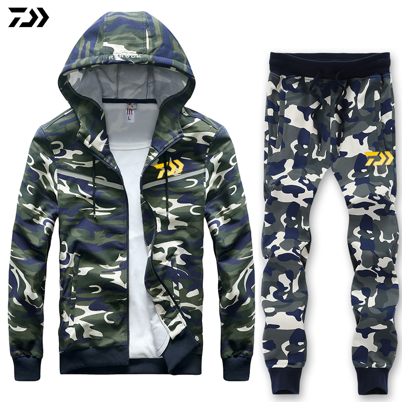 Daiwa Spring Autumn L-8XL Fishing Suit Outdoor Full Sleeve Fishing Hoodie Elastic Pants Sport Camouflage Set Men Fishing Clothes