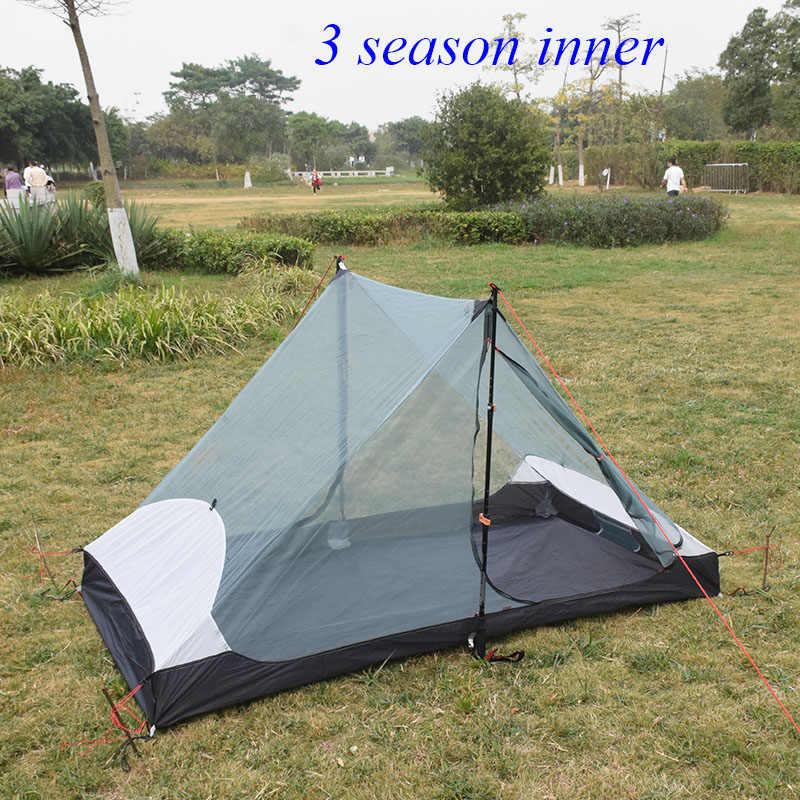 LanShan 2 3F 2 kişi see um Ultralight kamp çadırı 3 mevsim/4 mevsim 15D Silnylon Rodless çadır