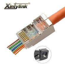Xintylink ez rj45 conector cat6 cabo ethernet rg45 rg rj 45 cat5 cat5e jack rede sftp protegido ftp 8p8c 20/50/100 peças