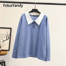Sweater 2019 new Plus size 3XL 4XL turn-down collar solid fashion knitted pullovers women KKFY4028