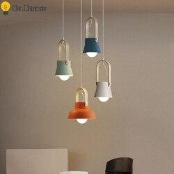 Loft w stylu nordyckim LED żelazne lampy wiszące sala restauracyjna lampa wisząca sypialnia domu kryty wyposażenie kuchni oprawa zawieszenie w Wiszące lampki od Lampy i oświetlenie na