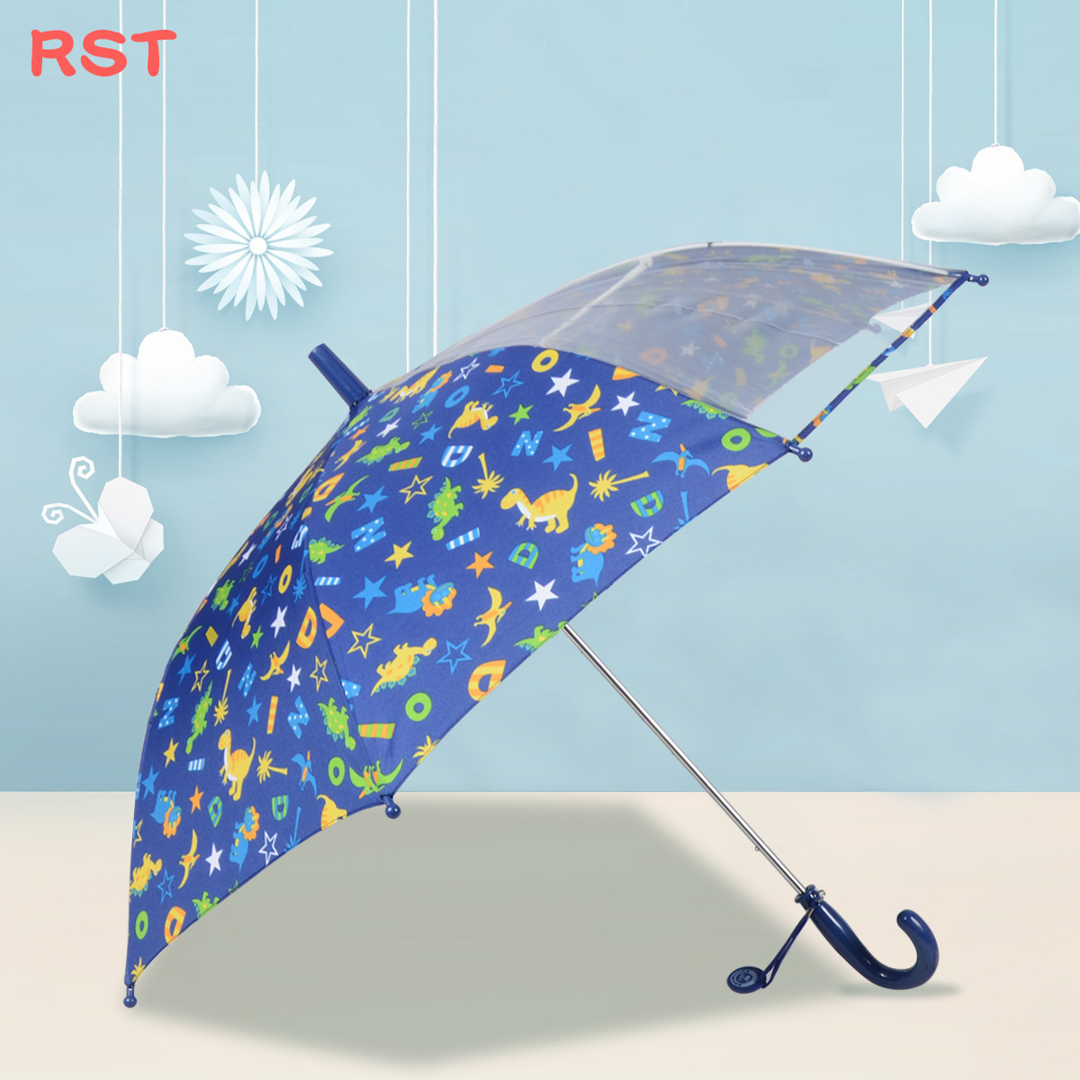RST Umbrella Foreign Trade Export Strange New Creative Safe Transparent Skylight Fiber Bone Children All-Weather Umbrella
