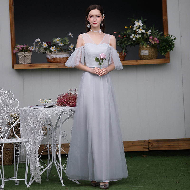 V-neck Wedding Party Dress Simple Vestidos Mujer Elegant Dress Women For Wedding Party Junior Bridesmaid Dresses Sexy Prom Club