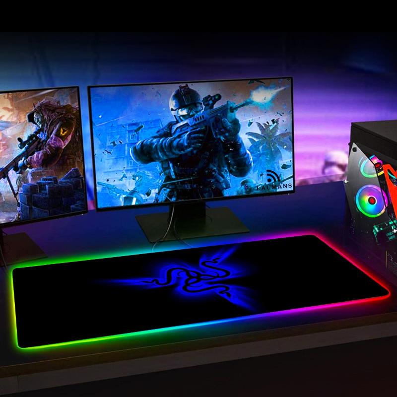 RGB игровой коврик для мыши Razer, большой светодиодный компьютерный геймерский коврик для мыши, большой коврик для мыши xxl, коврик для клавиатуры, Настольный коврик с подсветкой-5