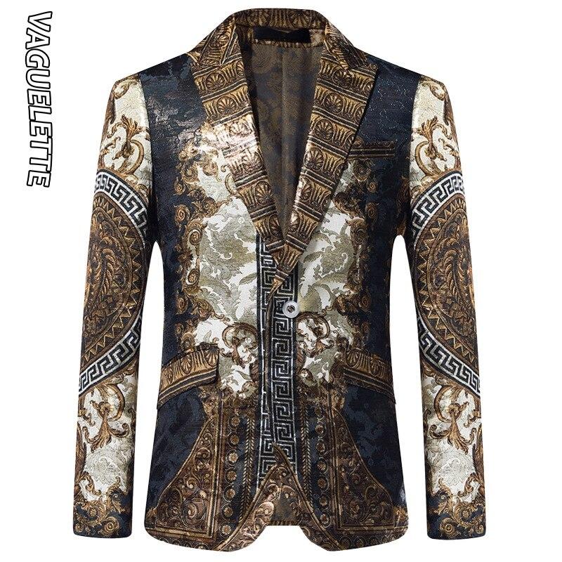 Vaguelette dorado Jacquard Blazer ajustado Blazer Masculino 2019 chaqueta de invierno para hombre Club DJ chaqueta para hombre chaqueta de escenario - 6