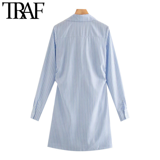 TRAF Women Chic Fashion With Knot Striped Pleated Mini Dress Vintage Long Sleeve Irregular Female Dresses Mujer 2