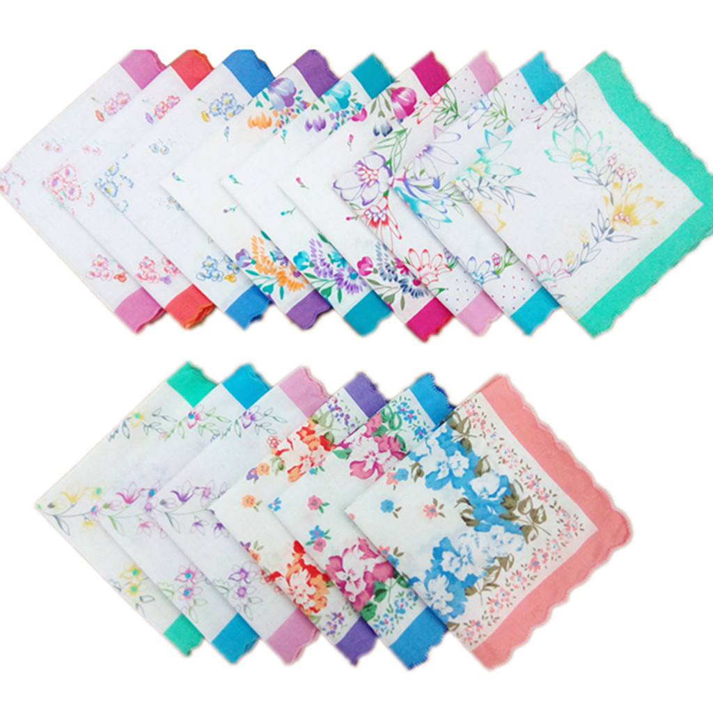 12pcs Women  Square Multicolor Hankerchiefs Fashion  Hankerchief