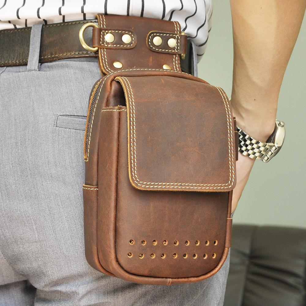 Quality Leather Men Casual Design Small Messenger Shoulder Bag Fashion Fanny Waist Belt Pack Cigarette 6