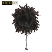 Morichy Human Hair Extensions Afro Kinky Curly Bun Ponytails Clip In Brazilian Remy Chignon Hair Natural Color For Woman