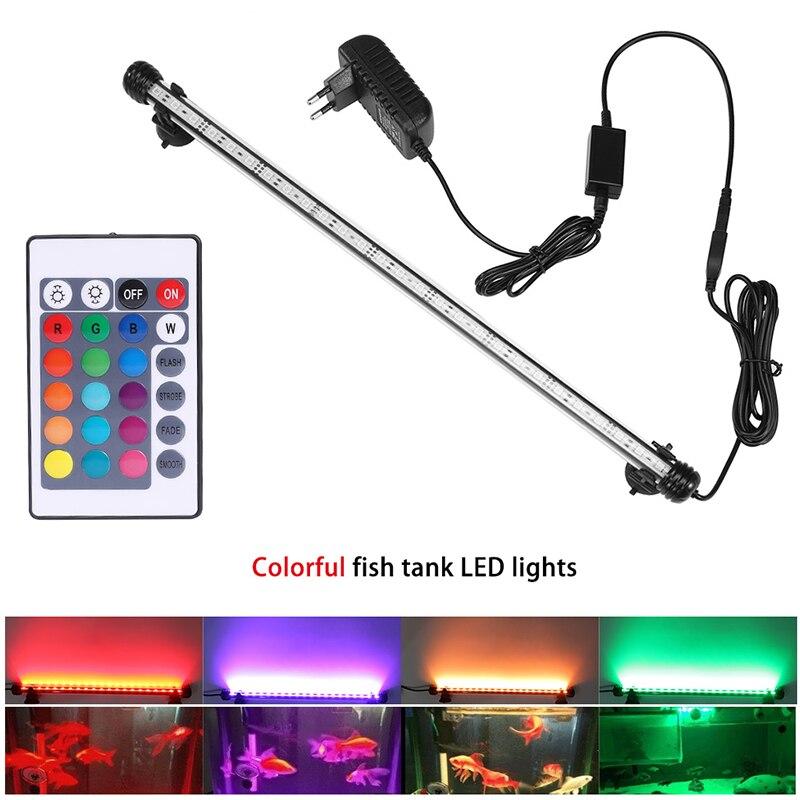 Luz RGB para acuario, lámpara de buceo con control remoto de 18-59cm, lámpara colorida de 90-260v, para plantas, pecera, uso con anfibios esenciales