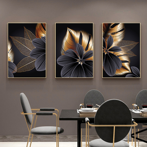 Image 3 - Black Golden Plant Leaf Canvas Poster Print Modern Home Decor Abstract Wall Art Painting Nordic Living Room Decoration Picture