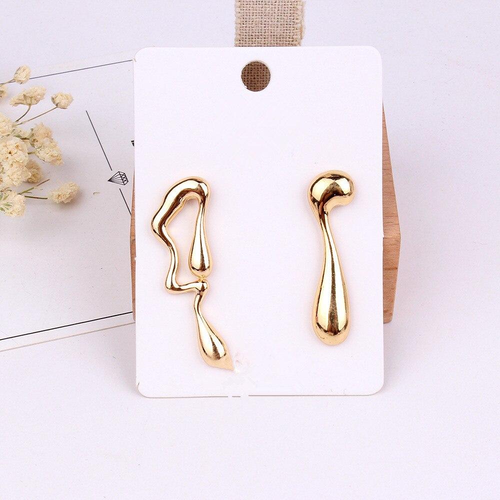 FYUAN 2018 nouveau Design alliage asymétrique boucles d'oreilles or argent couleur abstraite symbole goutte boucles d'oreilles mode femmes bijoux