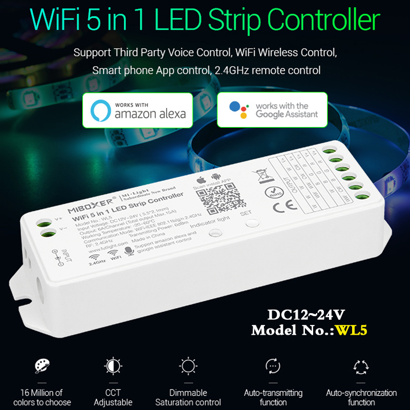 Wifi 5 In 1 Led Strip Controller WL5 Dimmer DC12~24V Can Smart Phone APP/remote Control/Alexa/Google Assistant Voice Control