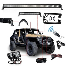 1 Set Offroad 300W 52 Inch Led Licht Bar 22 Inch Kap Led Bar 4 Inch Werk Licht Bedrading beugel Voor Jeep Wrangler Jk 07 15