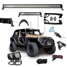 1 set Offroad 300W 52 Inch LED Light Bar 22 inch Hood LED Bar 4 inch Work Light Wiring Mount Bracket for Jeep Wrangler JK 07 15