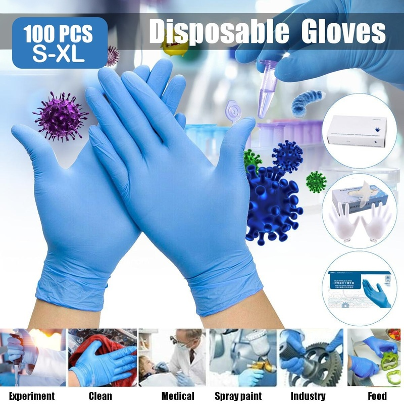 100PCS Nitri Disposable Gloves Work Gloves Men For Universal Influenza And Bacteria Prevention Nitrile Gloves Safety Gloves