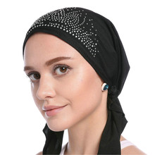 2020 Fashion Muslim underscarf Hat long tail turban cap Inner Hijab Caps Diamonds Turban for women Bonnet India Headwrap Hats