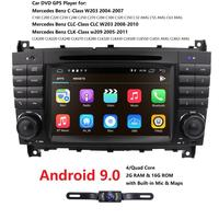7 Android 9.0 2G RAM 16G ROM Car DVD GPS For Mercedes/Benz W203 W209 W219 A Class A160 C Class C180 C200 CLK200 OBD Free Camera