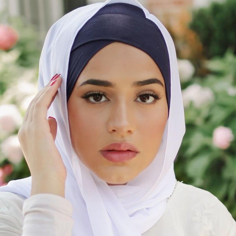 Muslim Women Head Scarf Cotton Underscarf Stretch Hijab Turban Headwrap Underscarf Cap Shawl Islam Scarf Inner Headband Bonnet