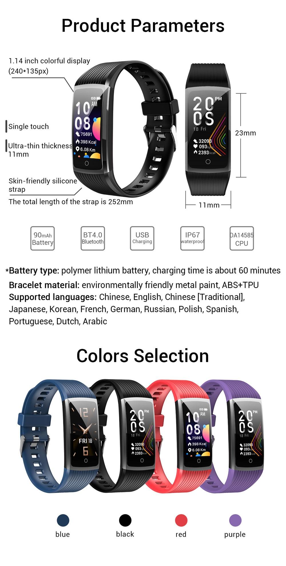 Hbe5bd9059bfa4bab90e4ceffe868a309g 2020 Fitness Bracelet Blood Pressure Fitness Tracker Waterproof Smart Bracelet Heart Rate Smart Band Watch Wristband Men Women
