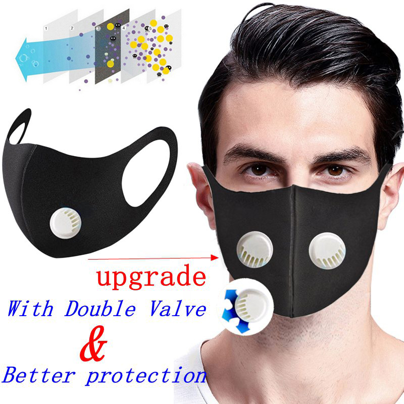 PM2.5 Mask Coronavirus Protective Mouth Mask Dustproof Anti Pollution Mask Washable Reusable Muffle Respirator With Double Valve