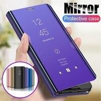 Funda con espejo inteligente para Samsung Galaxy, funda con Tapa de cuero PU transparente para Samsung Galaxy Note 20 S20 Ultra S10 Note 10 Plus A51 A71 A21 A31 A41 A11
