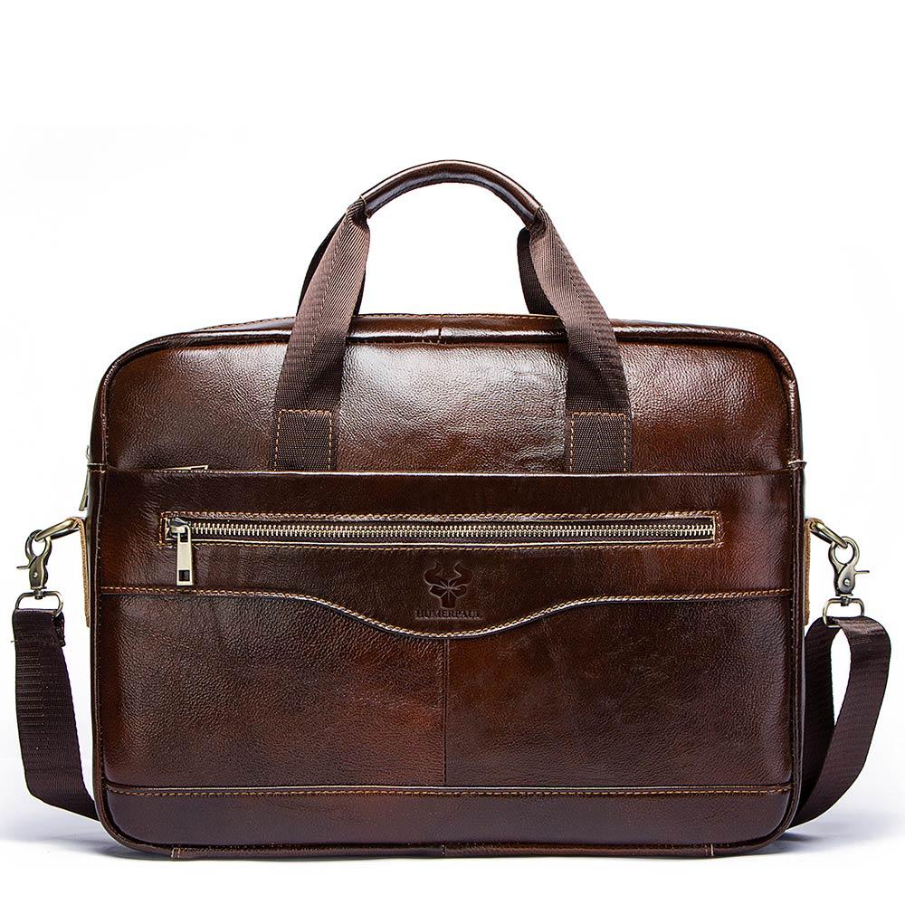 Crazy Horse Cow Leather Men Briefcase Casual Handbag Soft Shoulder Cross Body Bag Male Business Travel Bag Laptop Bag
