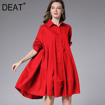 DEAT 2021 New Fashion Casual Oversized  Women's Shirt Dress Loose Wild Button Lapel Collar Full Sleeve Slim Clothes AQ744 1